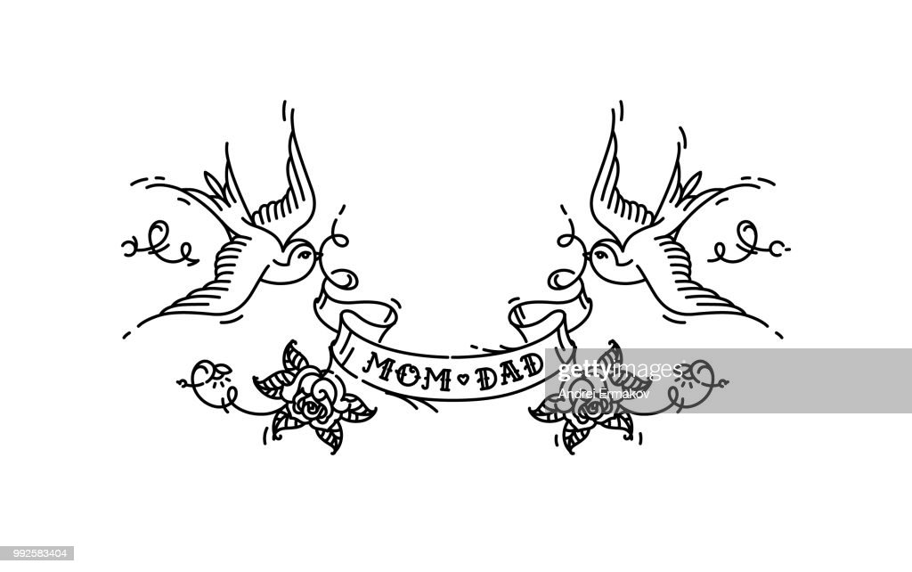 Tattoo swallows with the inscription of mom dad on tape. Vector illustration. Tattoo, American old school. Two birds Swallows, roses and congratulations for parents. Contour version of the tattoo.