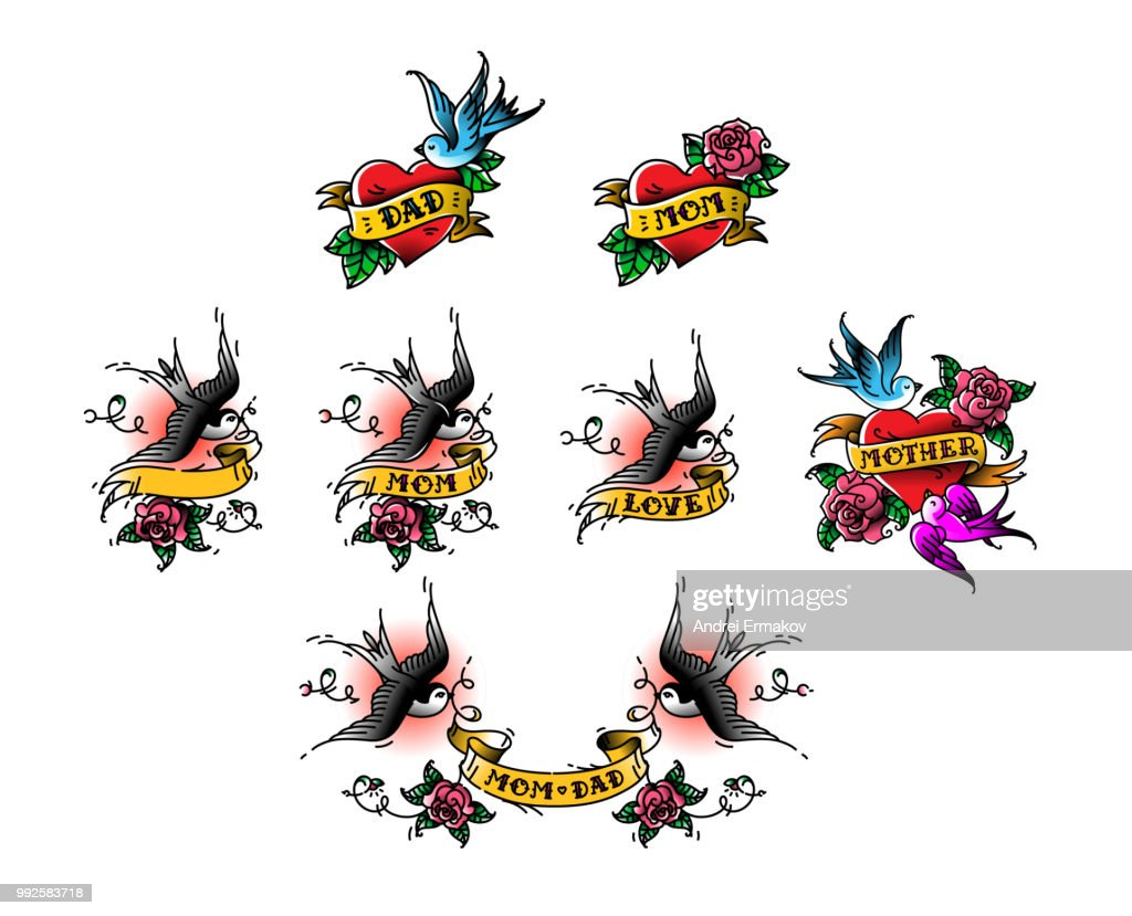 Tattoo swallows with the inscription of mom dad on tape. Vector illustration. Tattoo, American old school. Two birds Swallows, roses and congratulations for parents. The inscription on the ribbon, the names of the beloved.