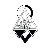 tattoo triangle. geomatic illustration. symbol style.