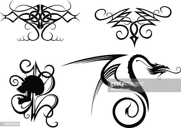 bildbanksillustrationer, clip art samt tecknat material och ikoner med tattoo - taggig buske
