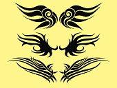Tattoo wing tribal set