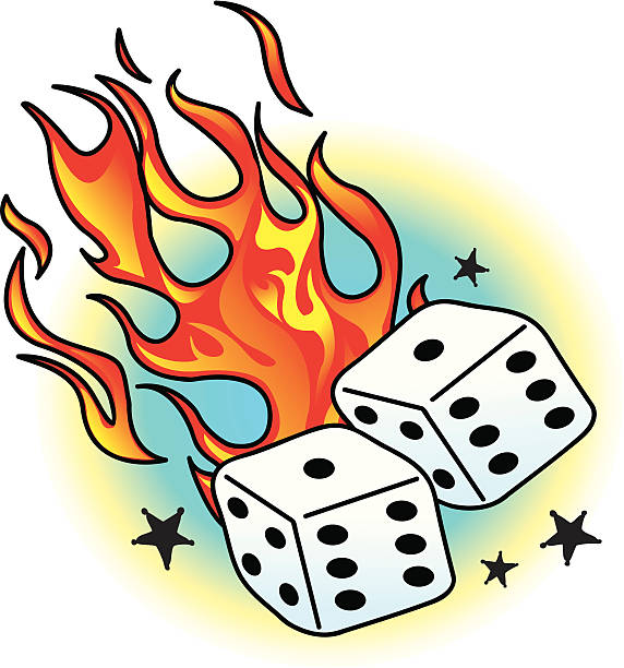 Tattoo with Flames, Dice and Stars
