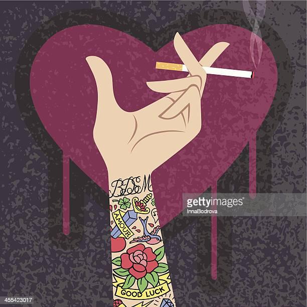 tattooed hand. - wrist stock illustrations, clip art, cartoons, & icons