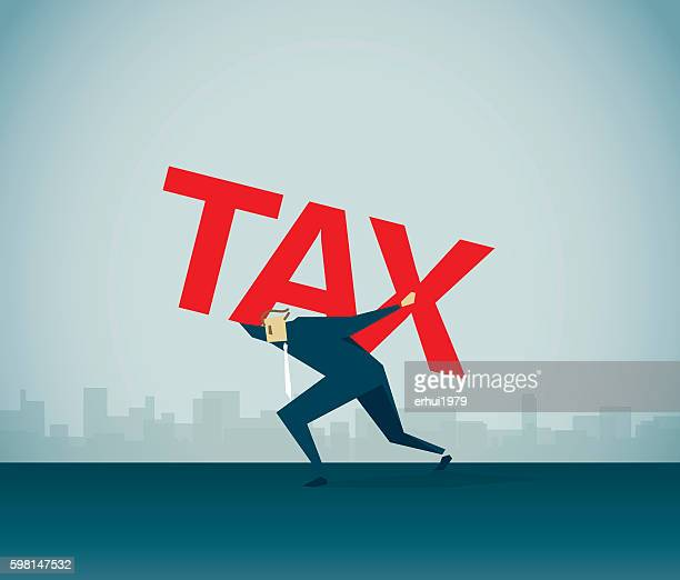 tax burden - over burdened stock illustrations