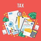 Tax calculation, accounting, paperwork concept. Top view. Flat vector illustration