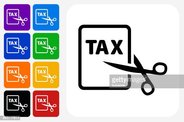 Tax Cut Icon Square Button Set