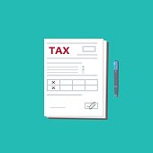 Tax form and pen. Top view. Modern flat design graphic elements. Vector illustration.