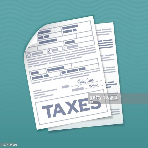 tax form documents - tax stock illustrations