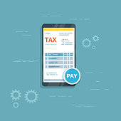 Tax form on the phone screen with pay button. Online tax mobile payment via smartphone. Internet banking concept. Online paying, bookkeeping, accounting. Vector illustration