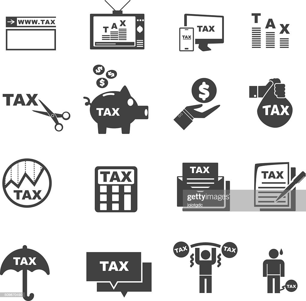 tax icon silhouette vector set