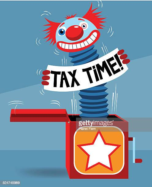 illustrations, cliparts, dessins animés et icônes de taxe jack in the box - diable à ressort