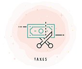 Taxes Icon with Watercolor Patch