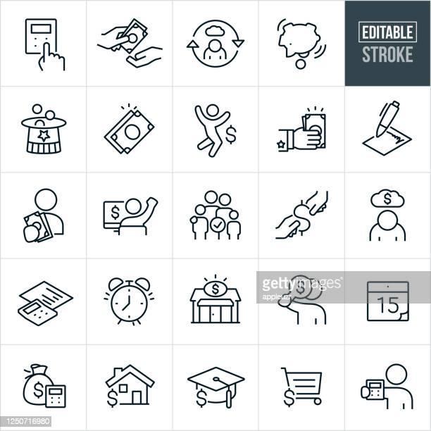 stockillustraties, clipart, cartoons en iconen met belastingen thin line iconen - bewerkbare lijn - rekenmachine