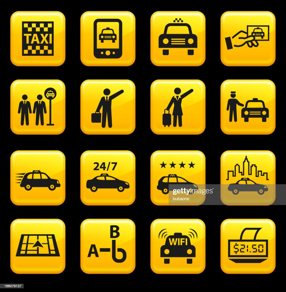 Taxi and Car Service royalty free vector icon set stickers