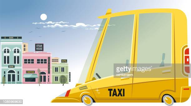 taxi and city - yellow taxi stock illustrations, clip art, cartoons, & icons