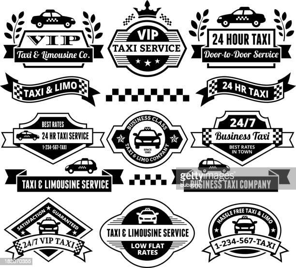 Taxi and Limousine Servicesblack & white vector icon set