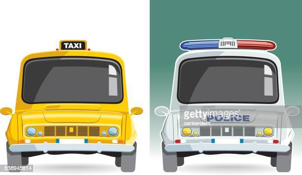 taxi and police car vector - yellow taxi stock illustrations, clip art, cartoons, & icons