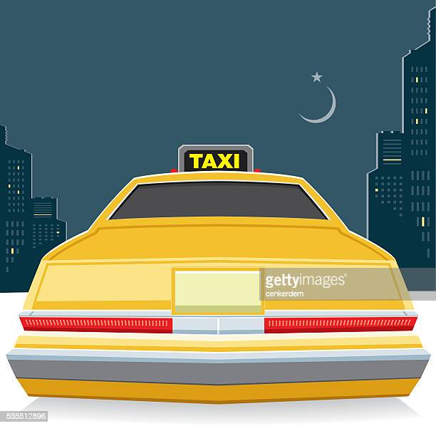taxi at night - yellow taxi stock illustrations, clip art, cartoons, & icons