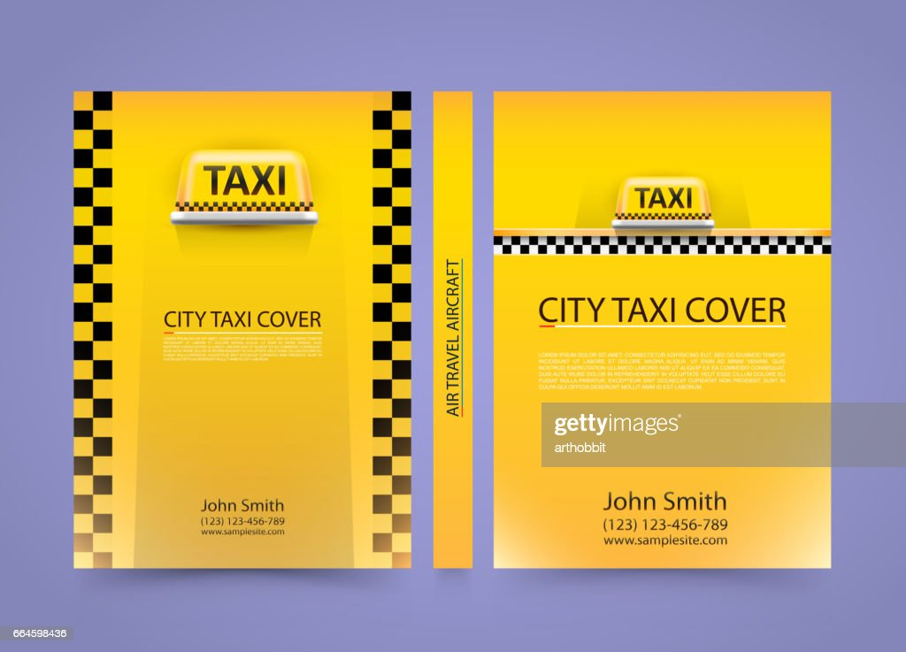 Taxi business card, Traffic cover, A4 size paper, Vector illustration
