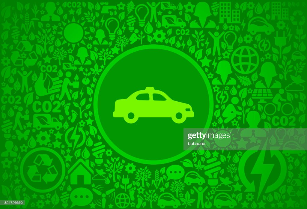 Taxi Cab Environment Green Vector Icon Pattern stock