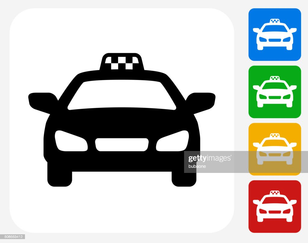 Taxi Cab Icon Flat Graphic Design