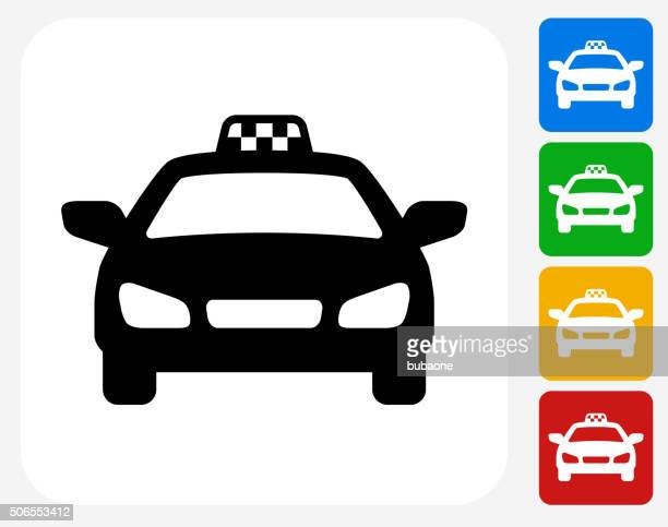 taxi cab icon flat graphic design - taxi stock illustrations, clip art, cartoons, & icons