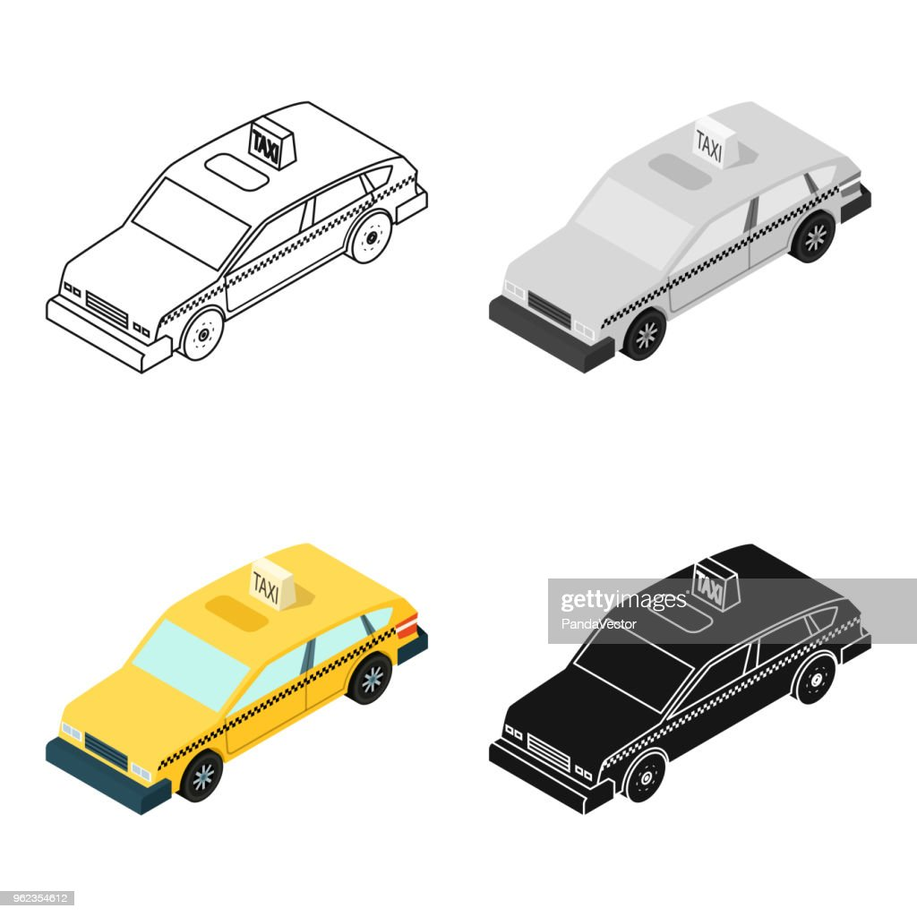 Taxi car icon in cartoon style isolated on white background. Transportation symbol stock vector web illustration.