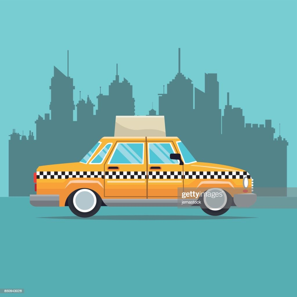 taxi car new york side view town background