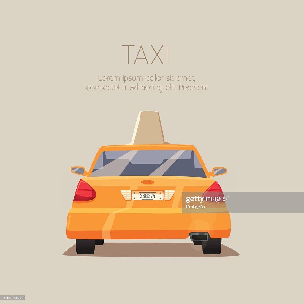 Taxi car. Vector cartoon illustration
