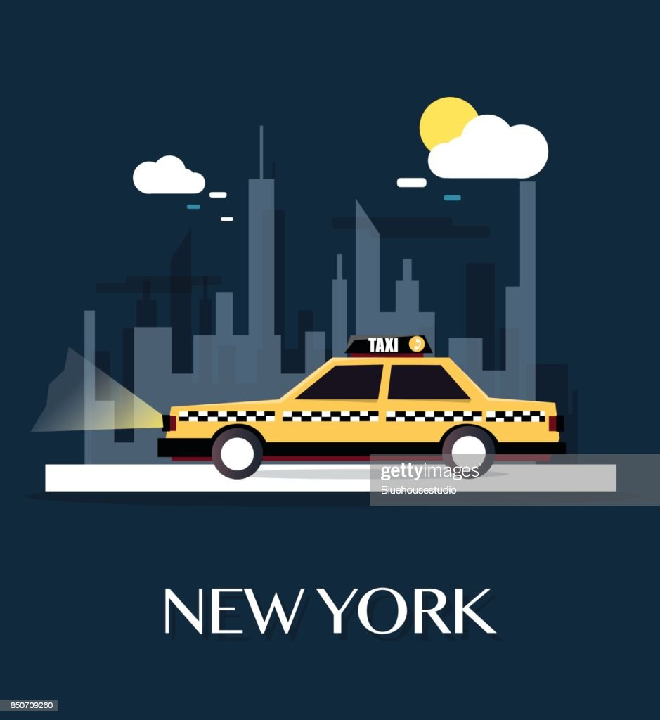 Taxi Car with New York City.