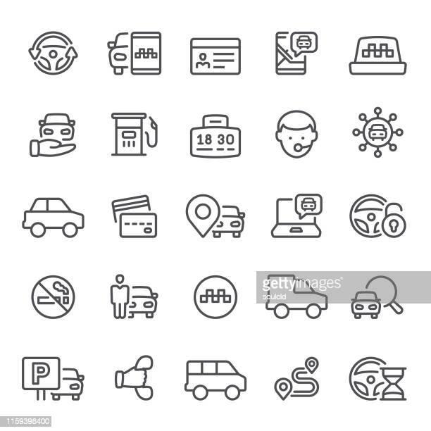 ilustraciones, imágenes clip art, dibujos animados e iconos de stock de iconos de taxi y carsharing - alquiler de coche
