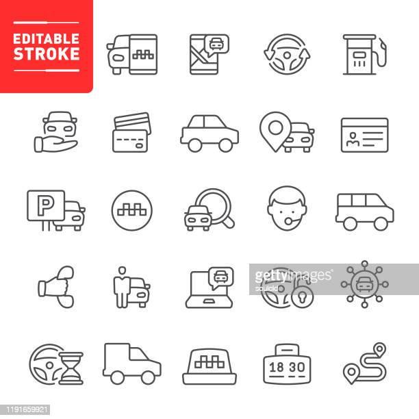 illustrations, cliparts, dessins animés et icônes de icônes de taxi et de covoiturage - permis de conduire