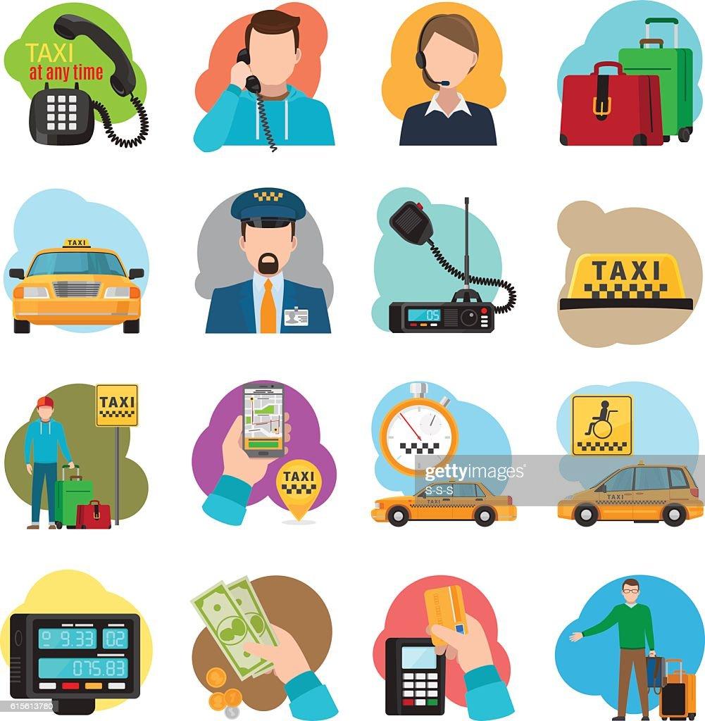 Taxi cartoon icons set