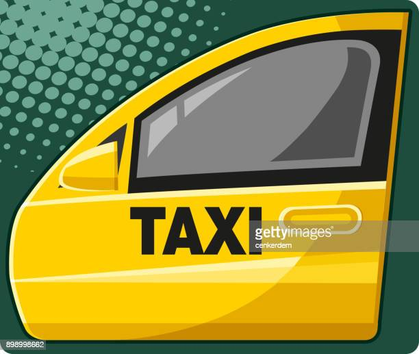 taxi door (vector) - yellow taxi stock illustrations, clip art, cartoons, & icons