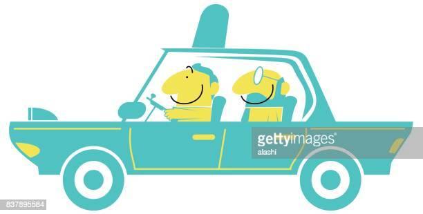 ilustraciones, imágenes clip art, dibujos animados e iconos de stock de taxi driver y sonriente hombre de negocios (hombre) en un coche (conduciendo, aeropuerto) - taxista
