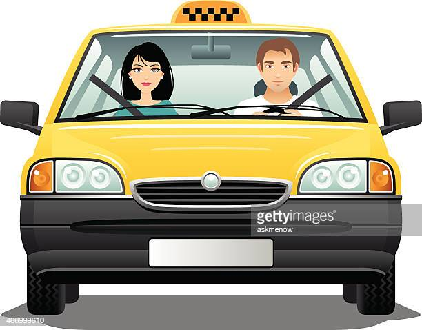 taxi driver with a passenger - yellow taxi stock illustrations, clip art, cartoons, & icons
