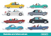Taxi drivers car set, Drivers Car Vector creative illustrations flat