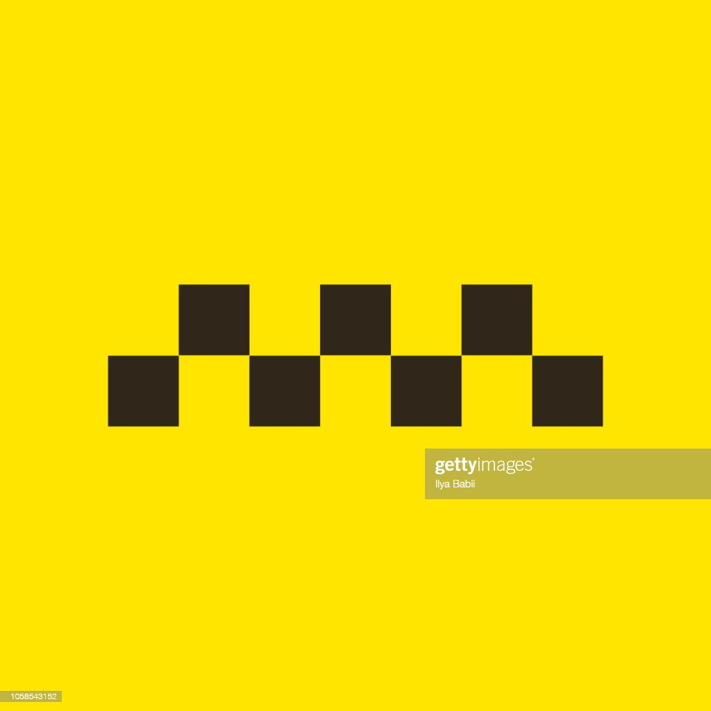 Taxi icon on yellow background. vector illustration