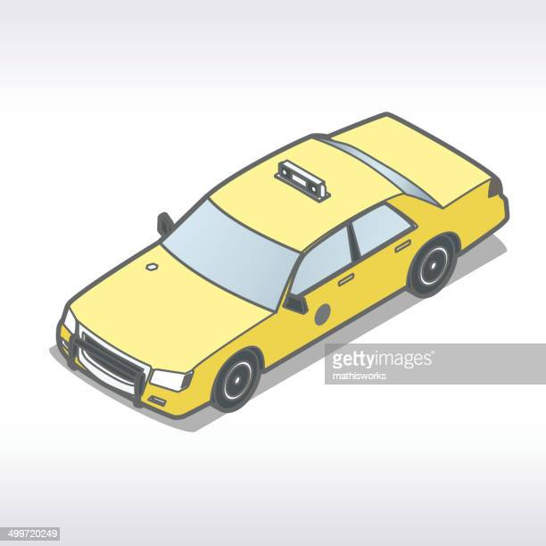 taxi illustration isometric - mathisworks stock-grafiken, -clipart, -cartoons und -symbole