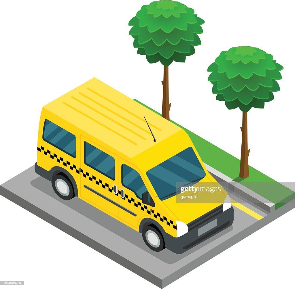 Taxi isometric 3d van car truck cargo