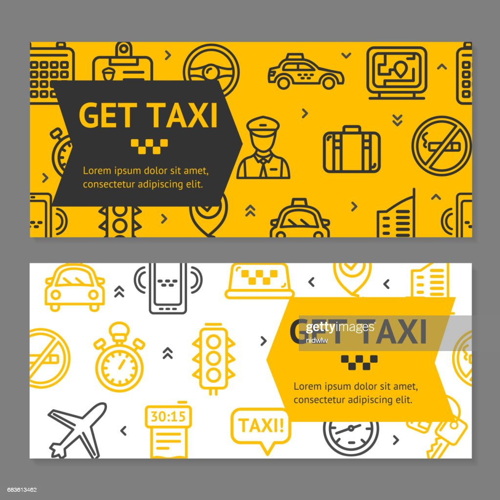 Taxi Line Service Flyer Banner Posters Card Set. Vector
