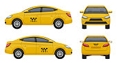 Taxi realistic. Yellow city car vehicle branding taxicab top left and right side vector 3d pictures set isolated