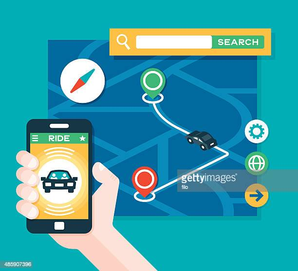 taxi ride share transportation app - taxi stock illustrations, clip art, cartoons, & icons