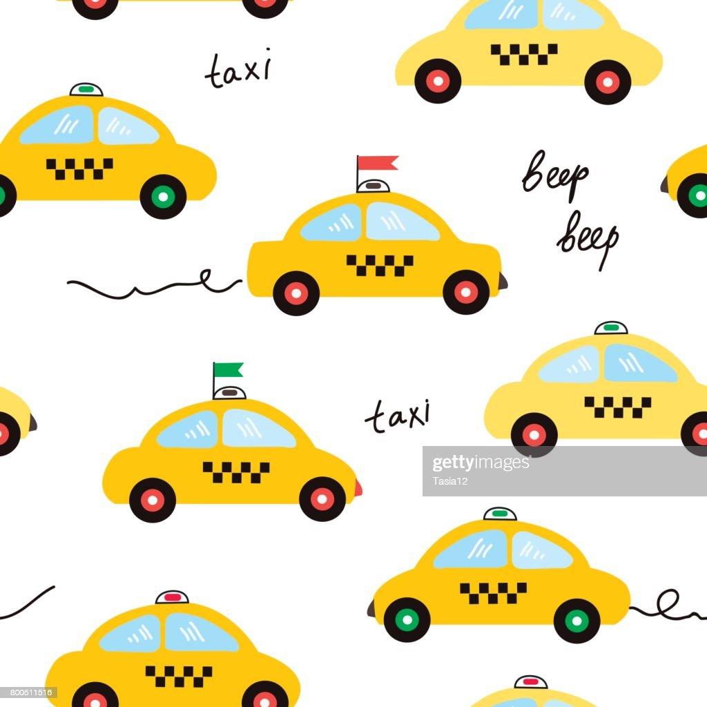 Taxi seamless pattern illustration in cartoon style, vector