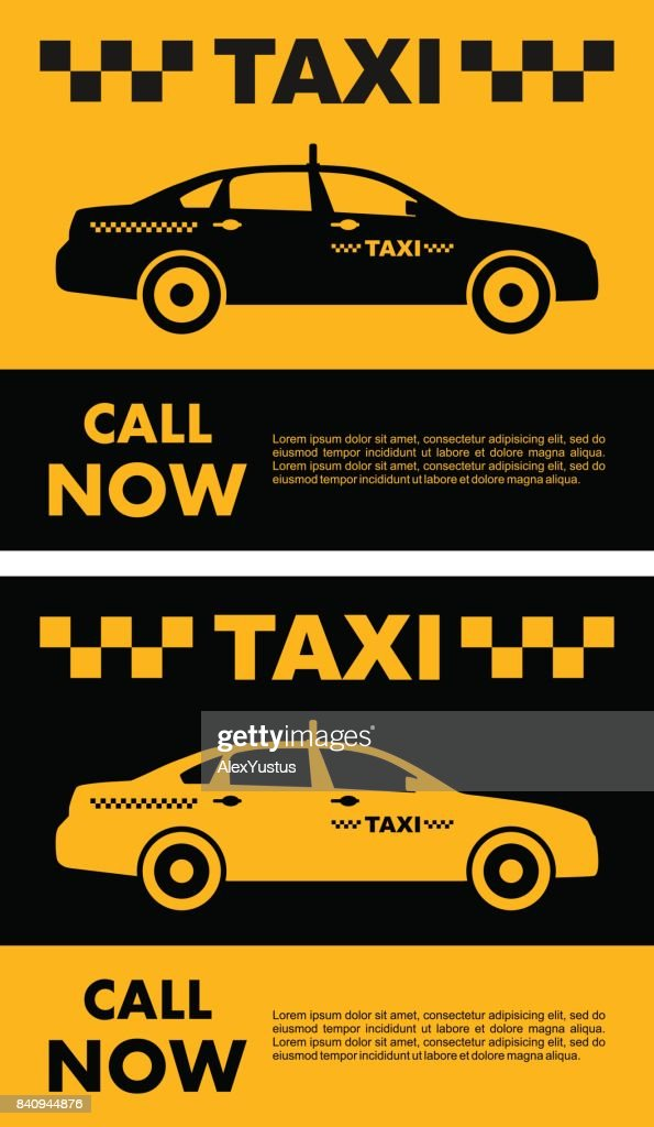 Taxi service concept. Vector yellow and black banner, poster or flyer.