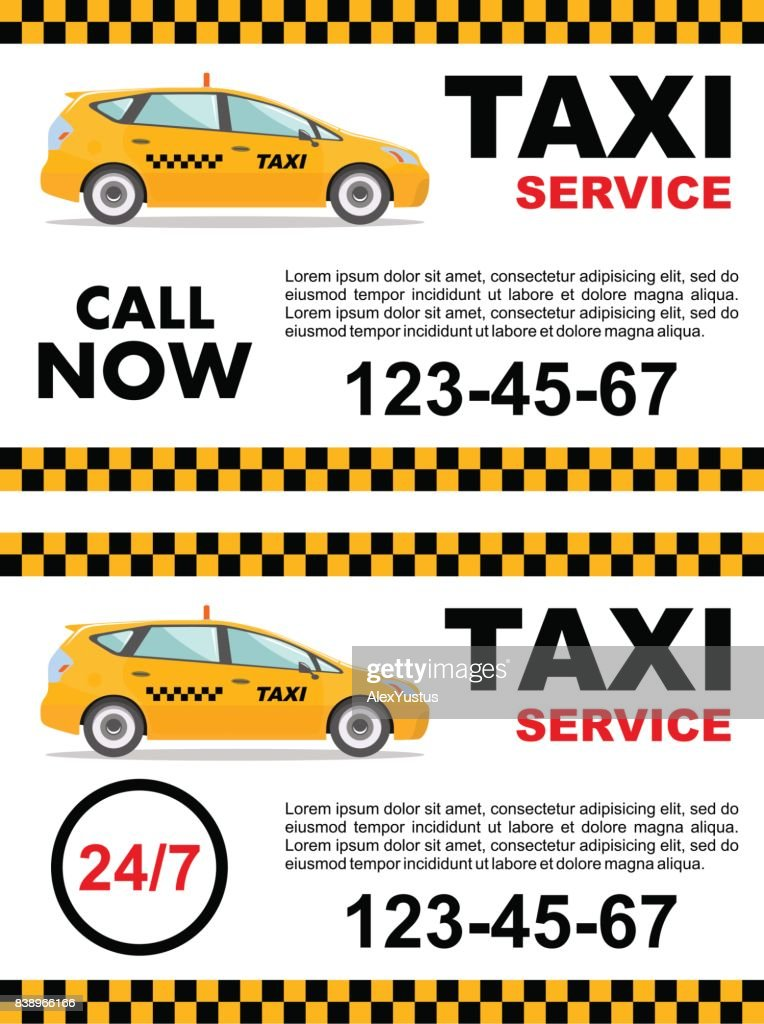 Taxi service design over white background. Detailed illustration of yellow car. Vector flat illustration. Banner, poster or flyer.