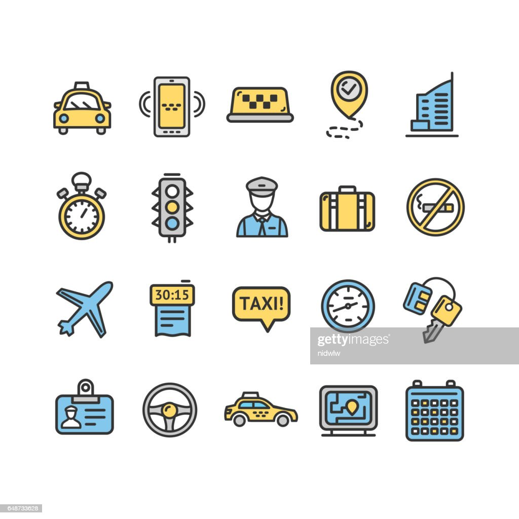 Taxi Services Color Icon Thin Line Set. Vector