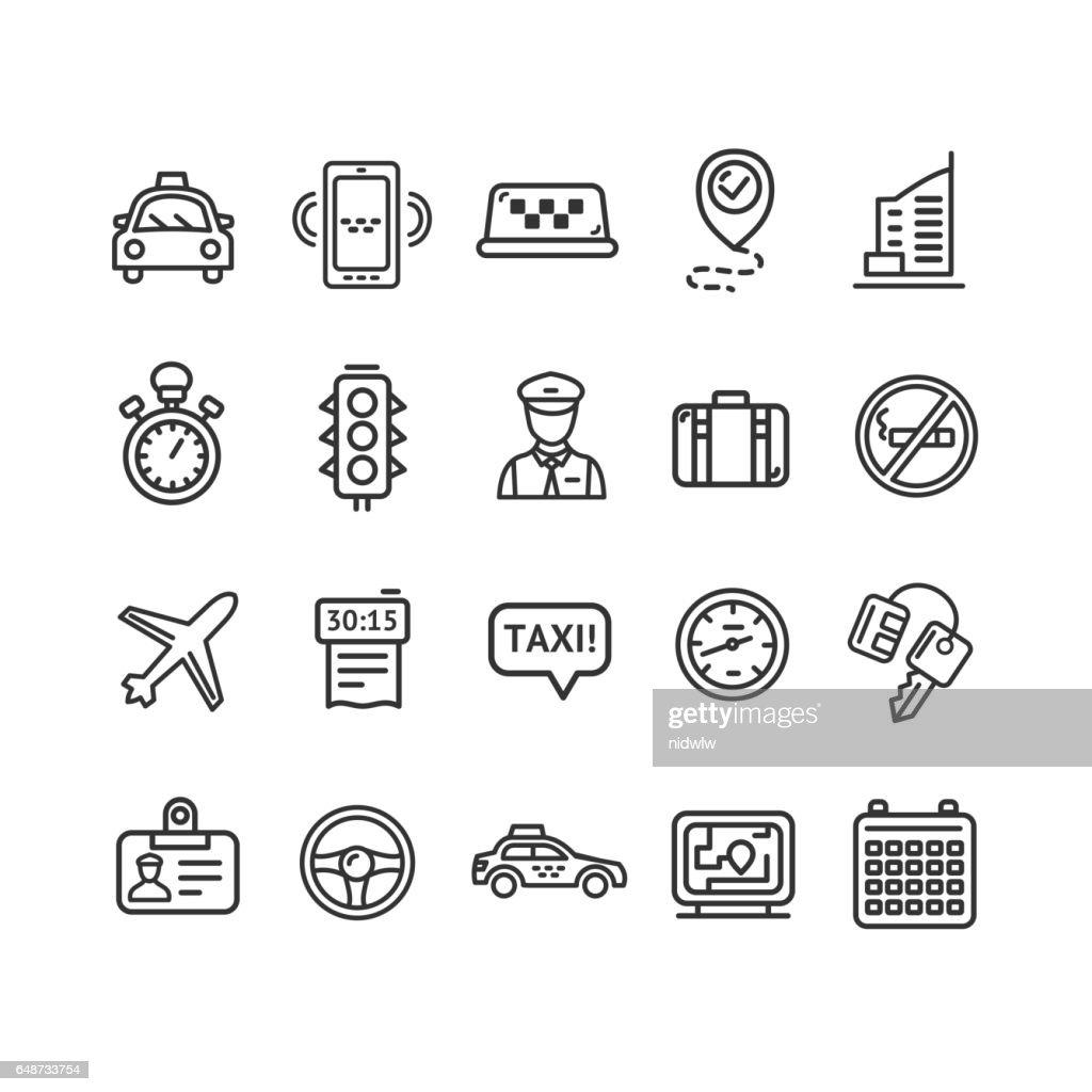 Taxi Services Icon Thin Line Set. Vector
