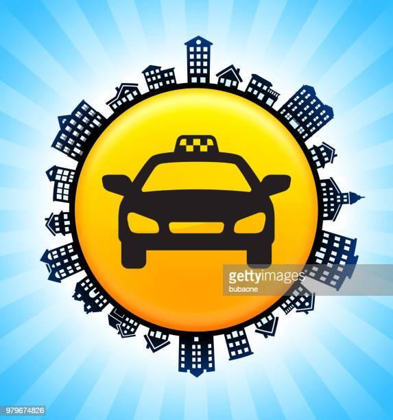 taxischild auf ländlichen stadtbild skyline hintergrund - stockwerk stock-grafiken, -clipart, -cartoons und -symbole