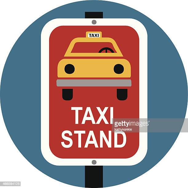 taxi stand sign color - yellow taxi stock illustrations, clip art, cartoons, & icons